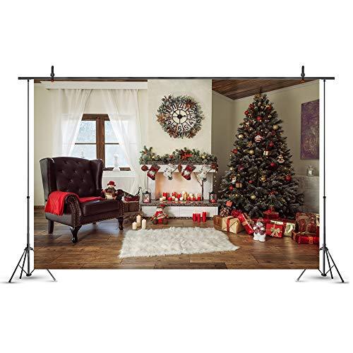 WQYRLJ 3D fotografie achtergrond kerstboom trappen houten vloer open haard portret geschenk vinyl fotoachtergrond fotostudio rekwisieten 6x10ft B