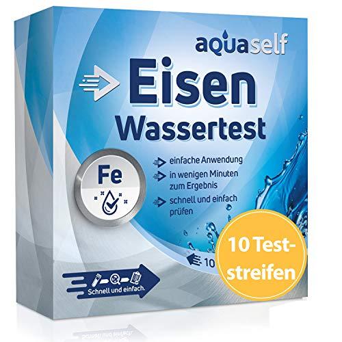 aquaself Wasser Eisentest: 10 Teststreifen zum Nachweis von Eisen im Wasser. Wasser Testset zur Überprüfung der Wasserqualität