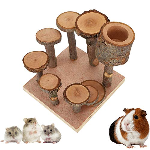 MYSY Wooden Hamster Playground, Wooden Hamster Climbing Toys, Activity Climbing Ladder Toy with Food Bowl, wooden platform stand Chew Toy for Chinchillas Guinea Pigs
