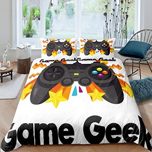 Loussiesd Gamepad Bettbezug Set Gamer Bettwäsche Set 135X200cm Teens Videospiel Betten für Kinder Kinder Jungen Leichte Neuheit Modern Game Controller Raumdekor 2St