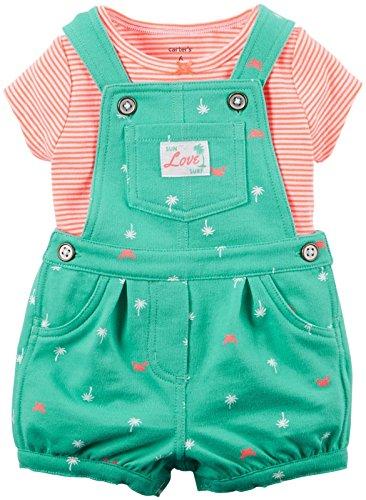 Carters's Latzhose + T-Shirt Sommer Set Baby Mädchen Shorts Outfit girl Shorts (80/86, Grün)