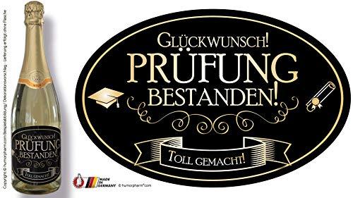 """""""TROTZDEM BESTANDEN - 2021 - Toll gemacht!"""" Aufkleber Sektflasche Weinflasche selbstklebend - wasserfest ("""