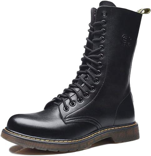 nihiug Martin Stiefel Oxford Schuhe Adult Stiefel Desert Stiefel Classic Winter Echtleder Plüsch Rutschfeste Atmungsaktive Rindfleisch Sehne
