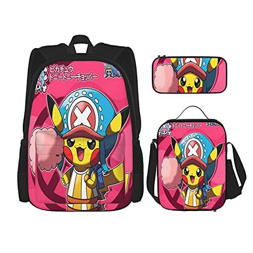 Poke_Mo_N - Juego de 3 bolsas escolares para adolescentes y escuelas, con bolsa térmica para almuerzo y estuche para lápices, Negro16, Talla única