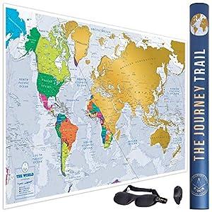 Mapa mundi para rascar más grande (84x57cm) y con más destinos - Póster de papel de gran calidad, más grueso y capa de protección - Incluye antifaz para un sueño profundo y reparador