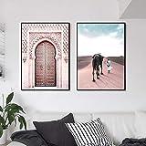YIBINGLI Marokko Poster Drucke Sahara Islamische Wandkunst
