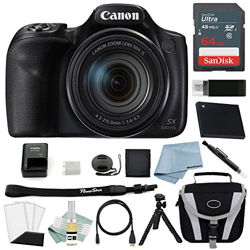 Canon PowerShot SX540 HS Digital Camera + Canon SX540 Advanced Accessory Bundle - Including to Get Started