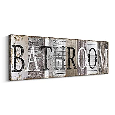 Bathroom Decorative Signs Inspirational Motto Canvas Prints (With Solid Wood Inner Frame) (Bathroom, 8 x 24 inch)