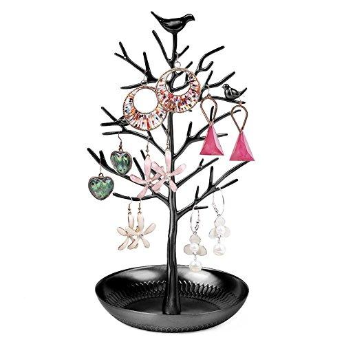 Vögel Schmuckständer Kettenständer Baum Armbandständer Schmuckhalter Ohrringhalter Metall Schmuckaufbewahrung Schmuckbaum Weihnachten Geschenk Damen - Schwarz