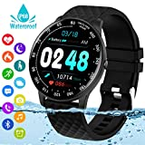 Smart Watch,Fitness Tracker Watch with Heart Rate Blood Pressure Monitor IP68 Waterproof Bluetooth Smartwatch Sports Activity Tracker Smart Bracelet for Men Women Kids Compatible Android iOS Phones