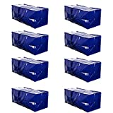VENO Heavy Duty Extra Large Moving Bag Storage Tote Backpack Carrying Handles & Zipper Alternative to Moving Box, Compatible with IKEA Frakta Hand Carts Boxes Bin, Made of Recycled Material (8 Packs)