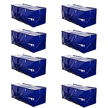 VENO Heavy Duty Extra Large Moving Bags W/ Backpack Straps Strong Handles & Zippers Storage Totes For Space Saving Fold Flat Alternative to Moving Box Made of Recycled Material  Blue - Set of 8