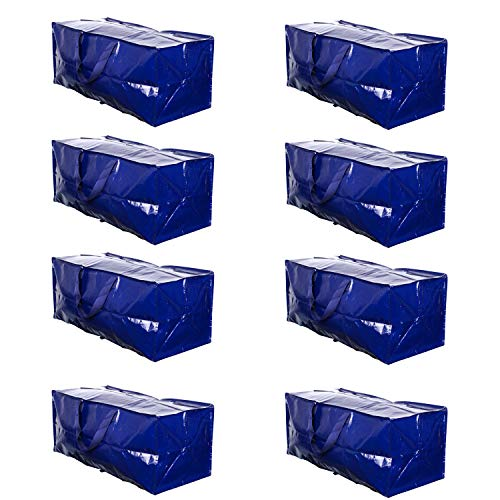 VENO Heavy Duty Extra Large Moving Bags W/ Backpack Straps Strong Handles & Zippers Compatible with IKEA Frakta Hand Cart, Storage Totes, Alternative to Moving Box, Recycled Material (Blue - Set of 8)