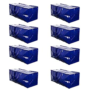 VENO Heavy Duty Extra Large Moving Bags W/ Backpack Straps Strong Handles & Zippers, Storage Totes For Space Saving, Fold Flat, Alternative to Moving Box, Made of Recycled Material (Blue - Set of 8)