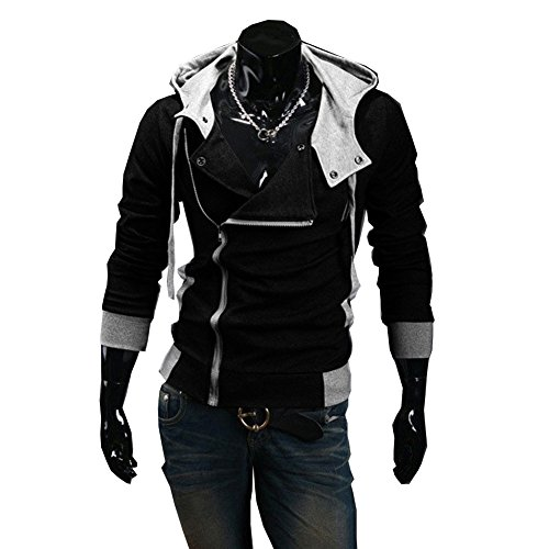 Cottory Men's Oblique Zipper Hoodie Cosplay Costume slim fit Jacket Black Small