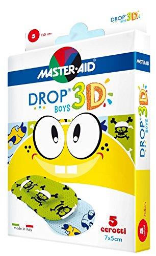 Sensitive Kinderpflaster, Jungenmotive, DROP® 3D Boys (5cm x 7cm) MASTER AID - 5 Stück