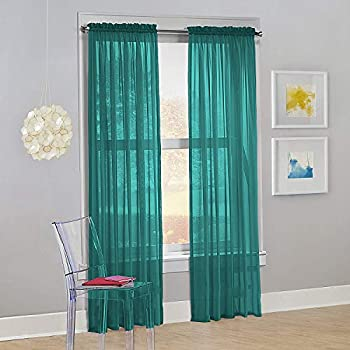 Decotex Set of 2 Sheer Voile Transparent Window Panel Curtain Drapes  54  W X 95  L Teal