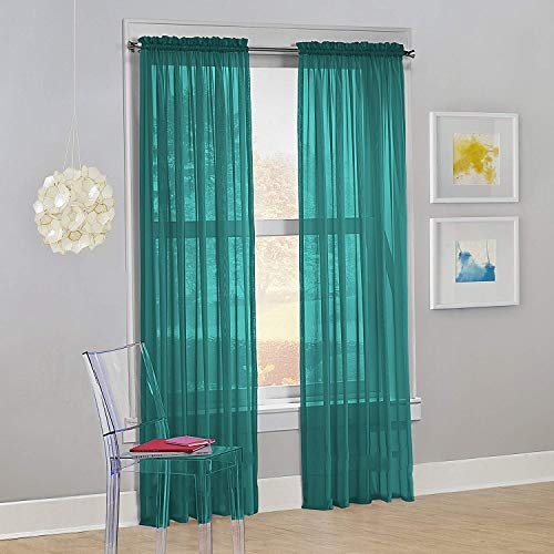 "Decotex Set of 2 Sheer Voile Transparent Window Panel Curtain Drapes (54"" W X 95"" L, Teal)"