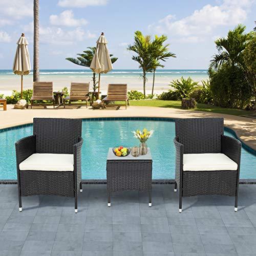 Moiitee Juego de 3 muebles de patio al aire libre, juego de sofá de mimbre, 1 mesa y 2 sillones, muebles de ratán para jardín, balcón y terraza
