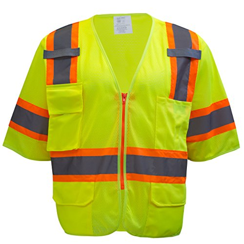 RK-Safety MV7812 Class 3 Two Tones High Visibility Reflective Strips Breathable Ployester Mesh Vest W/Pockets | ANSI ISEA 107-2015 Certified (5XL, Lime)
