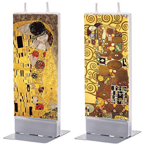 Flatyz - Velas especiales para regalar - Velas hechas a mano - Velas planas decorativas 60 x 10 x 150 mm - Juego de 2 unidades de Gustav Klimt beso y árbol de la vida