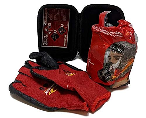 FireMask RPD 60 with Firegloves - Escape a Fire Safely - Emergency Respiratory Protective Device Against Smoke, Carbon Monoxide and Toxic Fumes