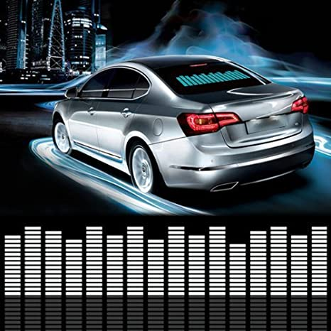 DIYAH Auto Sound Music Beat Activated Car Stickers Equalizer Glow LED Light Audio Voice Rhythm Lamp 45cm X 11cm Blue 18in X 4.5in