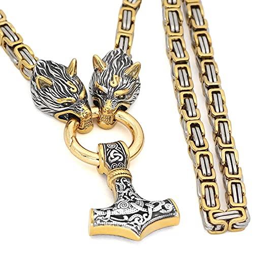 AMOZ Hammera con Colgante de Cuentas de Runas, Collar con Amuleto de Acero Inoxidable, Collar Pagano, Joyería con Dijes,B,70Cm