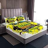 Juego de sábanas de skate para niños y niñas, juego de ropa de cama con 2 fundas de almohada de 3 piezas para cama doble