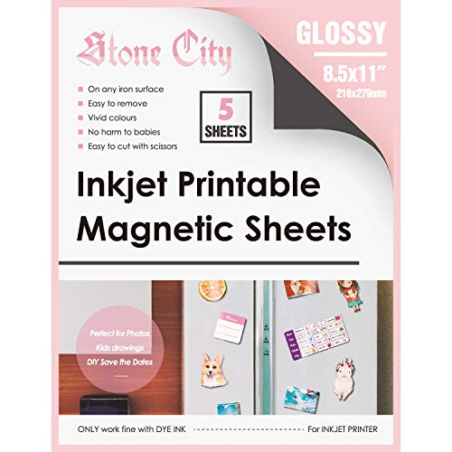 Stone City Magnetic Sheets Printable Glossy Paper 12mil Thick for Inkjet Printers 8.5x 11 Inches 5 Sheets