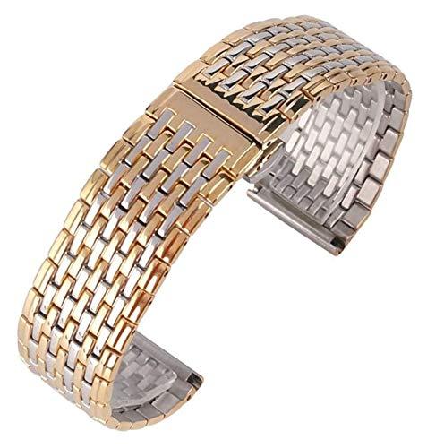 ZJSXIA Bandas de Reloj de Acero Inoxidable de Oro y Plata 20 mm 22 mm de Reloj Pulsera Pulsera Hombres Mujeres reemplazar + 2 Bares de Primavera Reloj de Reloj Correas de Reloj (Size : 20mm)