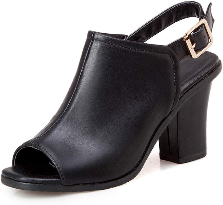 MEIZOKEN Women's Chunky Heel Ankle Strap Sandals Retro Peep Toe Slingback High Heel Party Pump Sandal