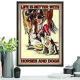 Poster su tela con citazioni e cavalli, con scritta 'Life Is...