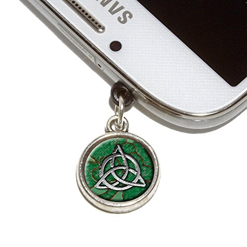 Celtic Trinity Circle Green Clovers Mobile Phone Jack Charm Universal Fits iPhone Galaxy HTC