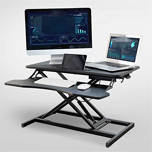 KPOON Stehpult Converter Büroarbeitsstation Büro Stehen Verstellbarer Tischhebe Desk Mobile Computer Workbench Laptop Riser (Color : Black, Size : 80X40X11-51cm)