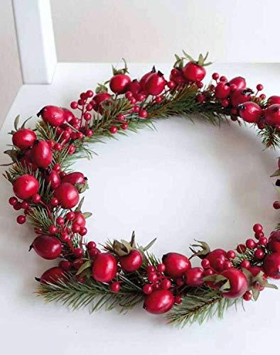 PARC Network - Künstlicher Kranz, Hagebuttenkranz, Beeren, Tannenzweige, Ø 30cm - Türkranz - Weihnachtsdeko - Adventskranz - Deko Weihnachtskranz