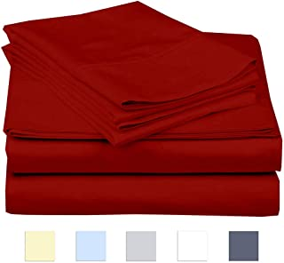 eBeddy Linens 800 Thread Count Hypoallergenic Soft 4-Pieces Bed Sheet Set | Single Ply - Sateen Weave Natural Cotton | Expanded/Olympic Queen Size Fits Upto 18'' Deep Pocket Burgundy Solid