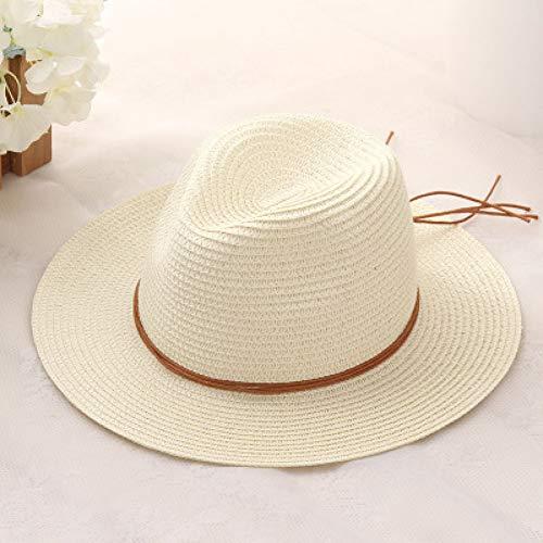 CHENGWJ Sombrero de Paja, Hombres Sombrero De Sol De Paja De Verano para Mujer Sombrero De Fedora De ala Ancha Boho Beach Sombrero De Sombrero De Sol Sombrero De Panamá Trilby Sombrero De Gorra De Ho