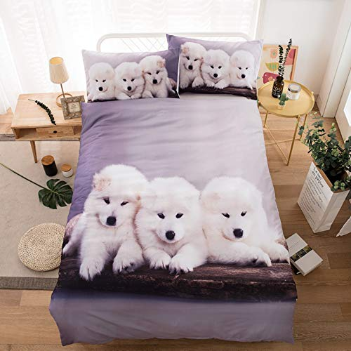 RTSE Children's 3D Printed Duvet Cover Bedding Set with Dogs/Sea Turtle Design (Three Dogs, Single, 135 x 200 cm)