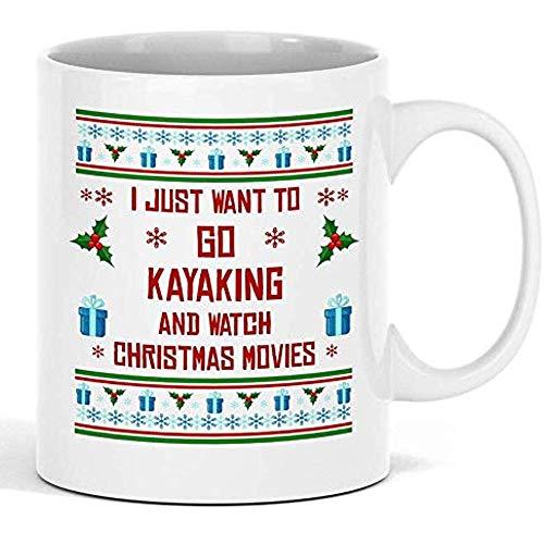 Mok Ich Möchte alleen kajak rijden witte mok unieke kerstkeramiek en voor sportfans perfect kerstverrassingscadeau gepersonaliseerde koffiemok koffiemok geschenk geschenk wit 330M