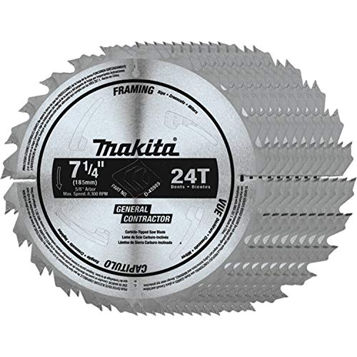 Makita D-45989-10 7-1/4' 24T Carbide-Tipped Circular Saw Blade, Framing/General Purpose, 10/pk