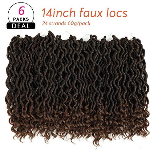 Karida 6Pcs/Lot Curly Faux Locs Crochet Hair 14 inch Deep Wave Braiding Hair With Curly Ends Crochet Goddess Locs Synthetic Braids Hair Extensions (14inch, T1B/30#)