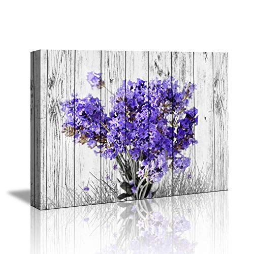 Purple Lavender wall decor for bedroom Rustic Home Decor Canvas Wall Art -12'x16' Purple Lavender Flowers on Vintage Wood Background Modern Living Room/Bedroom Decoration Stretched and Ready to Hang
