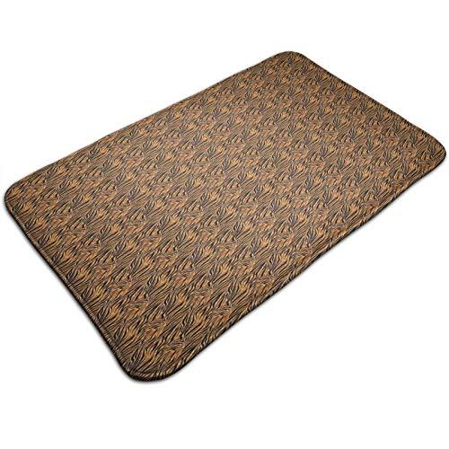 Felpudo de 60 x 40 cm, piel de tigre con rayas y tonos cálidos de fondo de la cultura africana, lavable a máquina, alfombra absorbente decorativa de baño con motivos