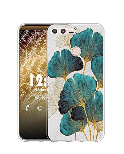 Sunrive Funda Compatible con Huawei P9, Silicona Slim Fit Gel Transparente Carcasa Case Bumper de Impactos y Anti-Arañazos Espalda Cover(Q Hoja)