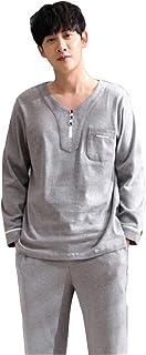 メンズパジャマ長袖コットン春と秋のパジャマセット秋と冬カジュアルスポーツカジュアルウェア パジャマ (Color : Gray, Size : 165cm/m)