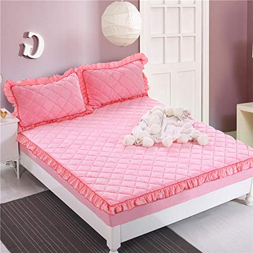 GTWOZNB Extra Deep Fitted Bed Sheet Hotel Quality Fitted Bed Sheets Winter solid color velvet bed sheet thickening-pink jade_228_150*200cm