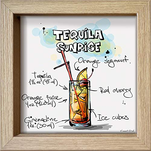International Graphics Ingelijste briefkaart - Oriol, Vincent - ''Tequila Sunrise'' - 16 x 16 cm - houtkleurige lijst