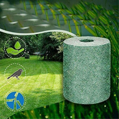 Tapis de mélange de graines d'herbe verte - Tapis de graines de gazon biodégradable - Réparation de points nus tout-en-un, rouleau à fixation rapide, alimente jusqu'à 6 semaines (Sans graines)