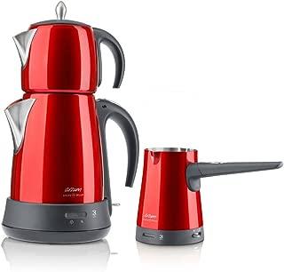 Arzum AR3008 Ehlikeyf Delux Çay Ve Kahve Robotu Seti, 1000 w, Kırmızı